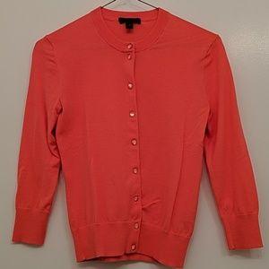 JCrew Tippi button cardigan, size XS, coral